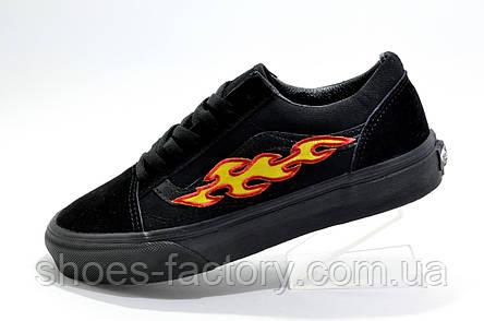 Кеды унисекс в стиле Vans Old Skool с огнями, Black, фото 2