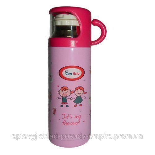 Термос детский с чашкой розовый Pink голубой blue желтый  yellow 350 мл Con Brio СВ-343 Украина