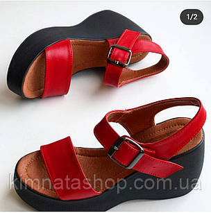Женские кожаные босоножки на платформе красные р 37,40