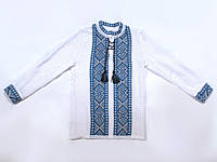 Вышиванка для мальчика с голубым орнаментом