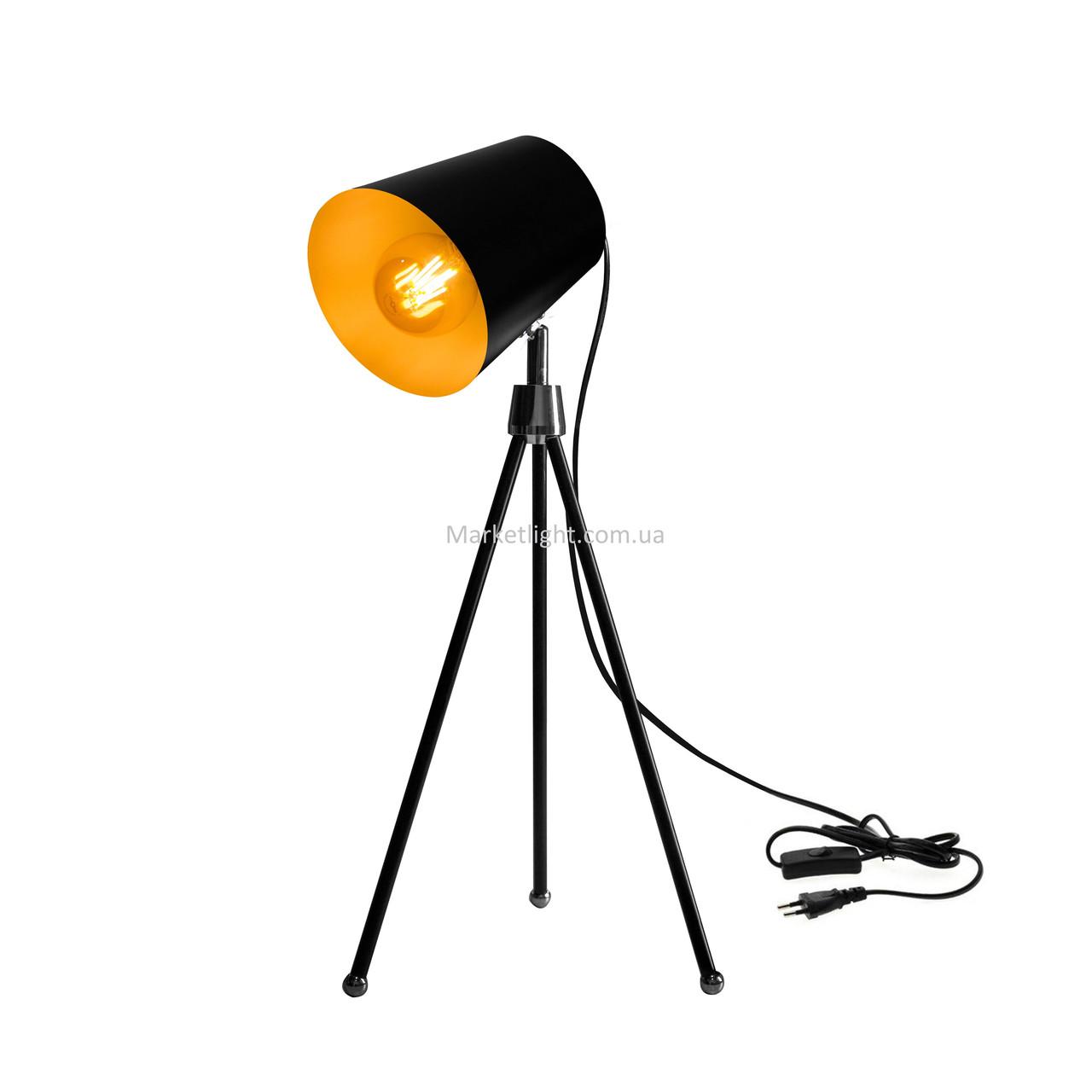 Настольная лампа в стиле лофт черная на ножках SWT-2038 BK