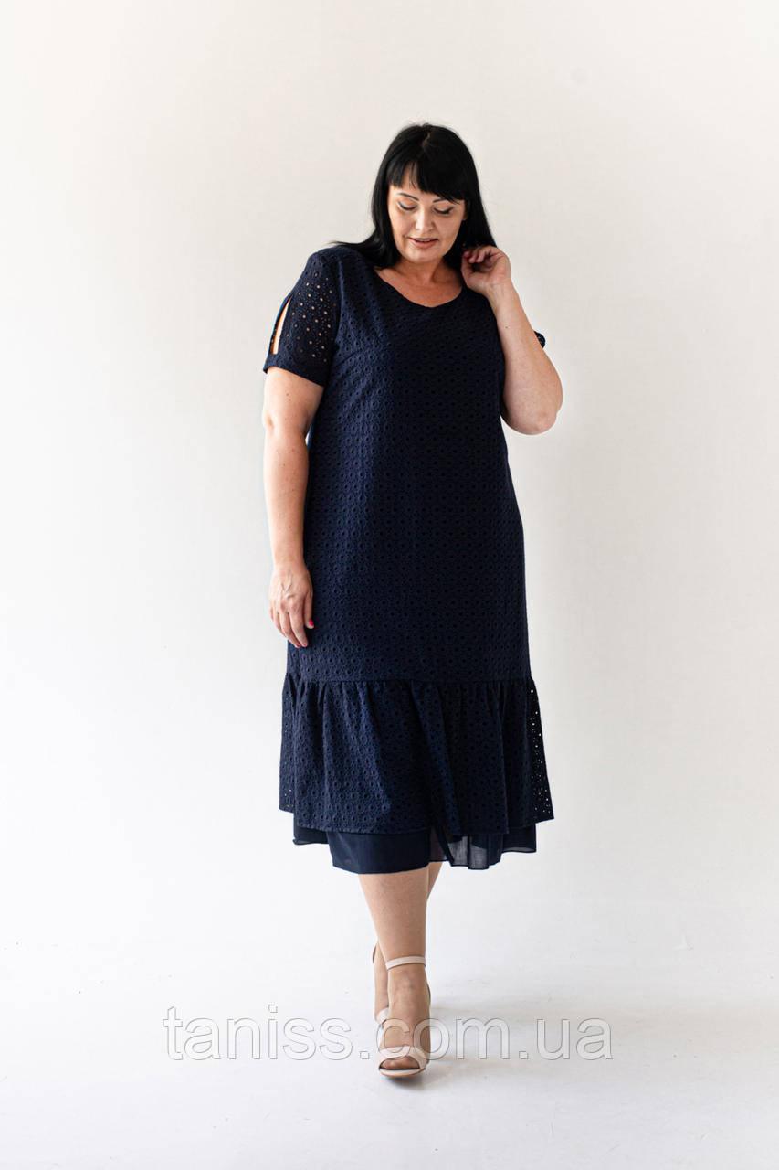 """Женское летнее платье """"Нонна"""", ткань прошва,штапель, размеры 54,56,58,60 (023) синий, сукня"""