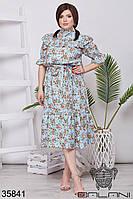 Женское летнее платье в цветочек голубое 48-52,54-58