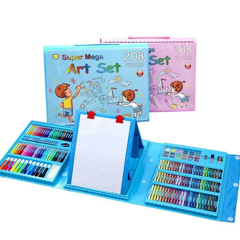 Детский набор для рисования 208 предметов в удобном кейсе с ручкой + Мольберт