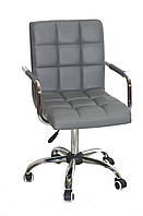 Кресло с подлокотниками Августо Augusto-ARM CH - Office серая экокожа на колесиках, хром