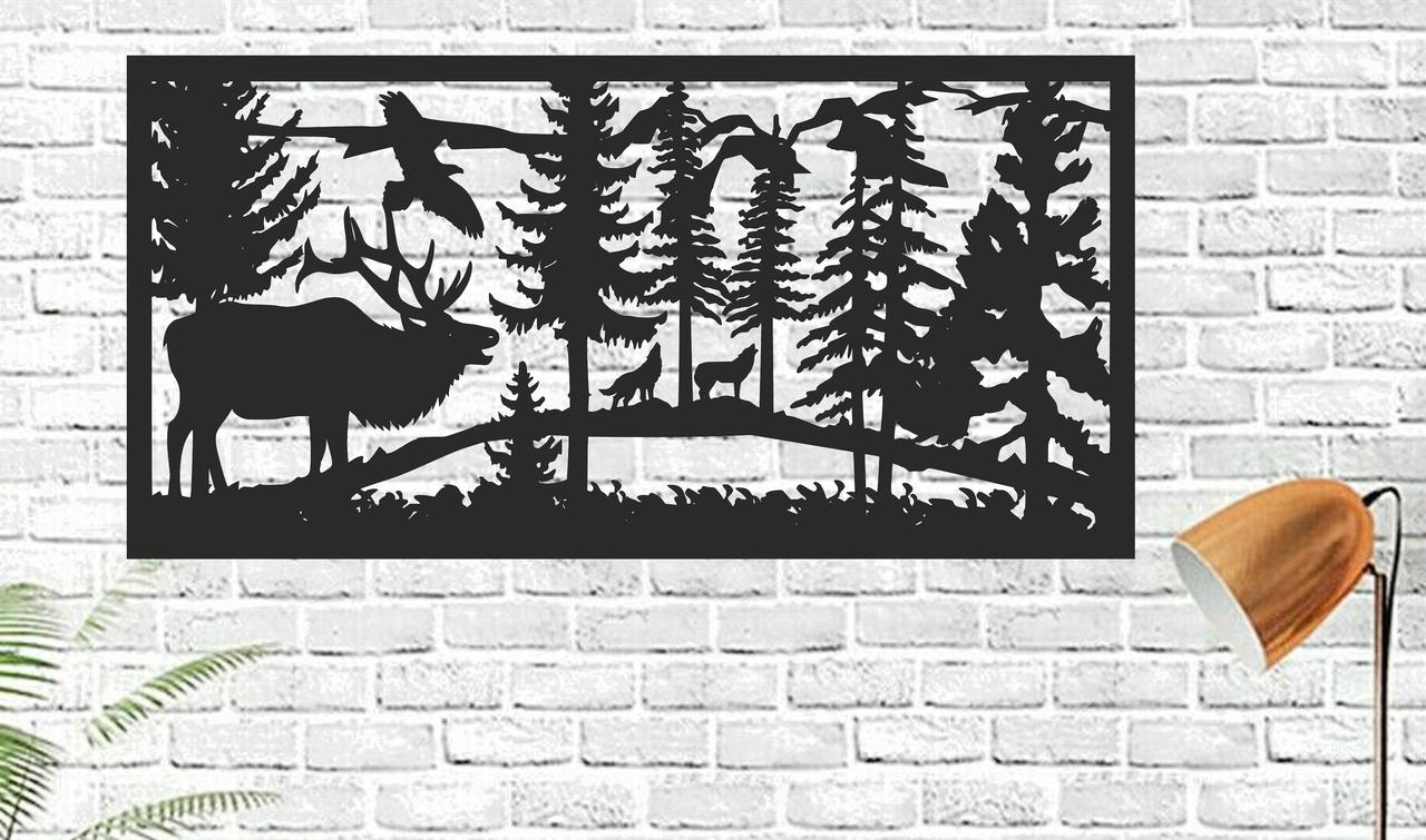 Картина панно из дерева Handmade Олень 50х25см Черный (1149836479)