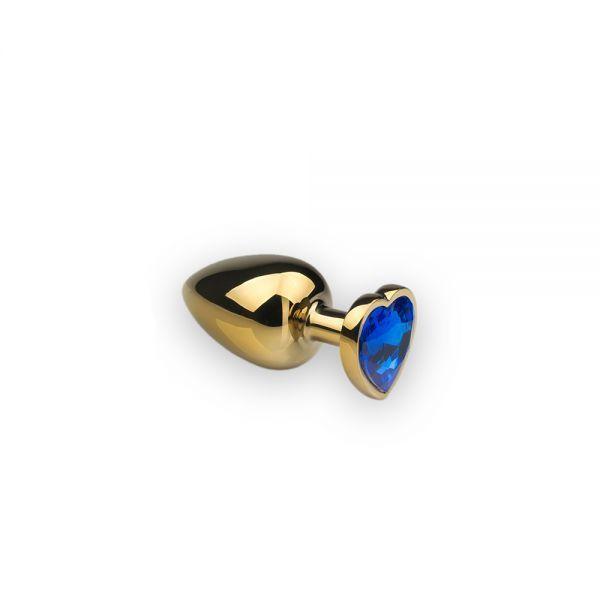 Анальная пробка,Gold Heart Sapphire, S