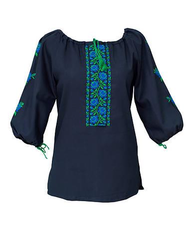 Женская вышиванка (черный штапель), фото 2