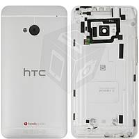 Задняя панель корпуса (крышка батареи) для HTC One M7 801e, оригинал (серебристый)