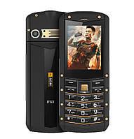 Телефон кнопочный противоударный с камерой и большим экраном на 2 sim AGM M2 gold English keyboard