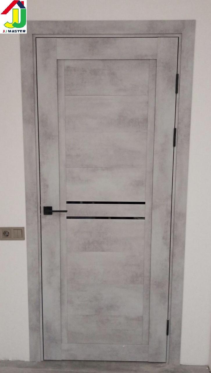 Двері міжкімнатні NEXT 2x Муарова світло-сірий чорне лакобель, двері для квартири, двері для дому, двері в офіс