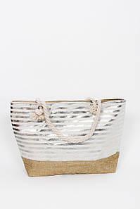 Пляжна Сумка Серен смугаста пісочний колір з сріблястими смужками