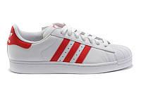 Женские кроссовки Adidas Superstar белые с красным, фото 1