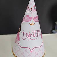 Ковпак святковий рожевий принт little princess 15см