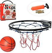 Баскетбольное кольцо металлическое 32 см с мячом M 5965