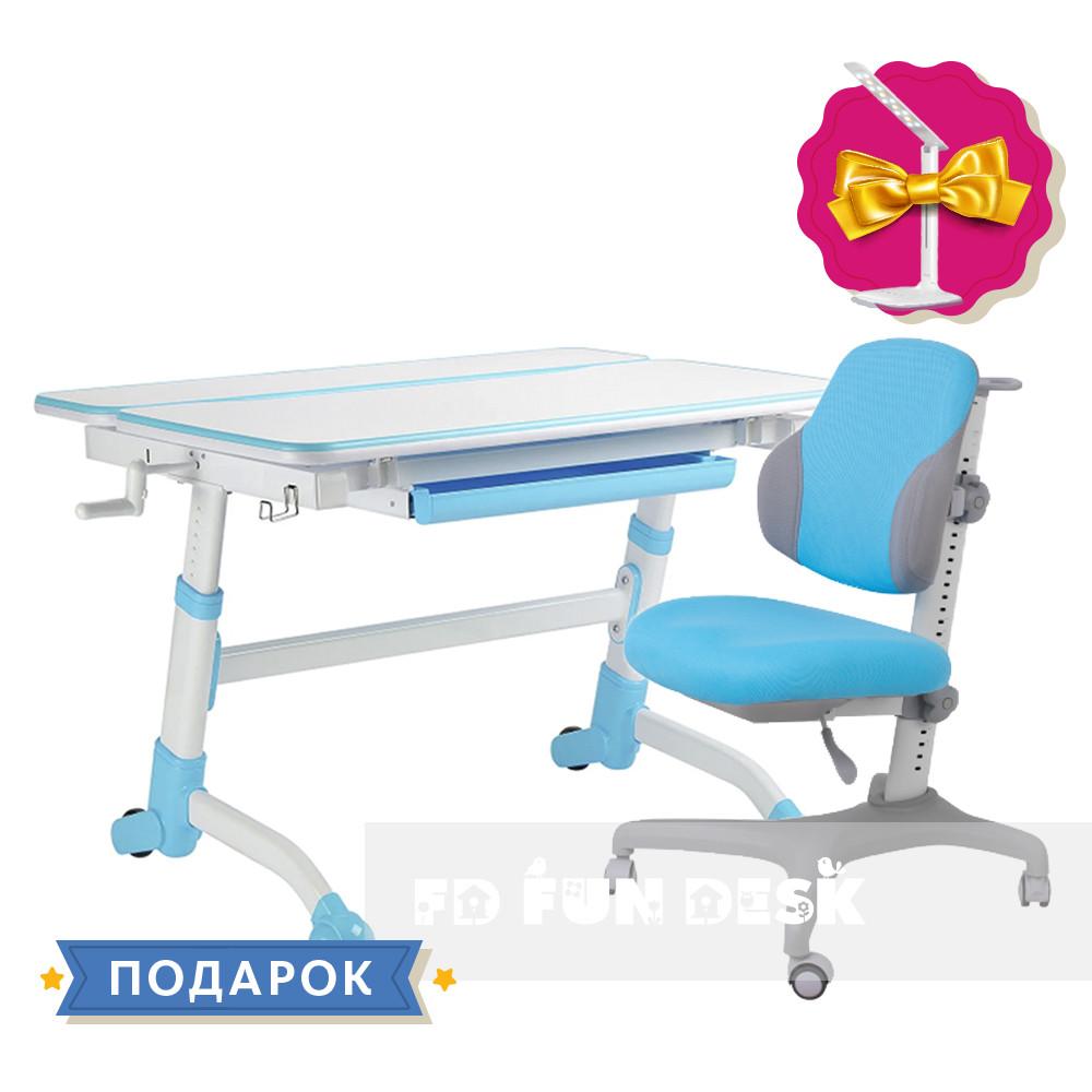 Регулируемая парта FunDesk Volare Blue + эргономичное кресло FunDesk Inizio Blue