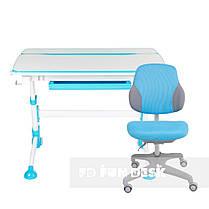 Регулируемая парта FunDesk Volare Blue + эргономичное кресло FunDesk Inizio Blue, фото 3