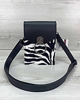 Черно-белая женская мини сумка через плечо вертикальная кросс-боди для мобильного телефона, фото 1