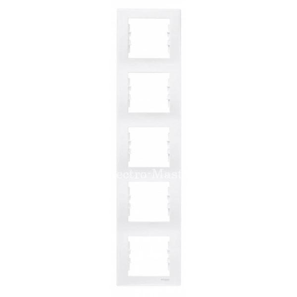 Рамка пятиместная вертикальная белая Sedna
