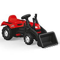 Трактор педальный детский с ковшом веломобиль на педалях красный DOLU RANCHERO 8047