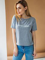 Светлая короткая серая футболка топ молодежного пошив размер 42,44,46, фото 1