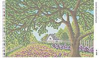 Схема для вышивания бисером ''Ирисы под деревом'' А3 29x42см