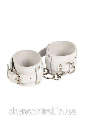 Наручники Leather Dominant Hand Cuffs,white, фото 2