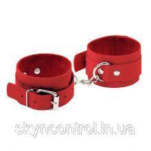 Наручники Leather Standart Hand Cuffs, Red