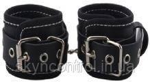 Наручники BDSM-NEW PVC Handcuffs Woven Belt Edge Sealing With Chain, black, фото 2