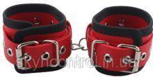 Наручники BDSM-NEW PVC Handcuffs Woven Belt Edge Sealing With Chain, red
