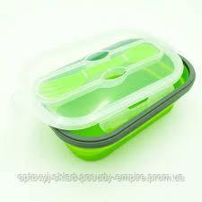 Ланч бокс силиконовый  складной для еды с ложкой-вилкой 800 мл  FRU-384