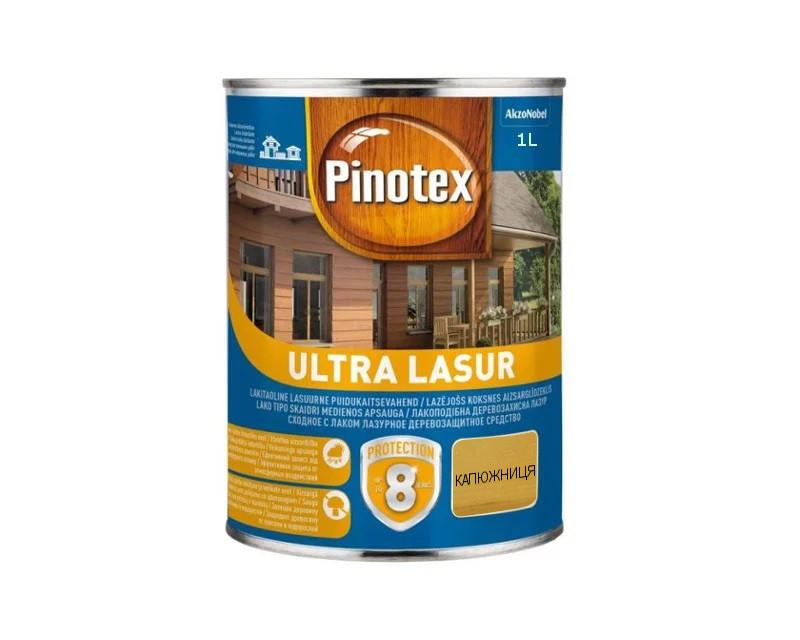 Лазурь-лак антисептический PINOTEX ULTRA LASUR для древесины полуматовый калужница 1л