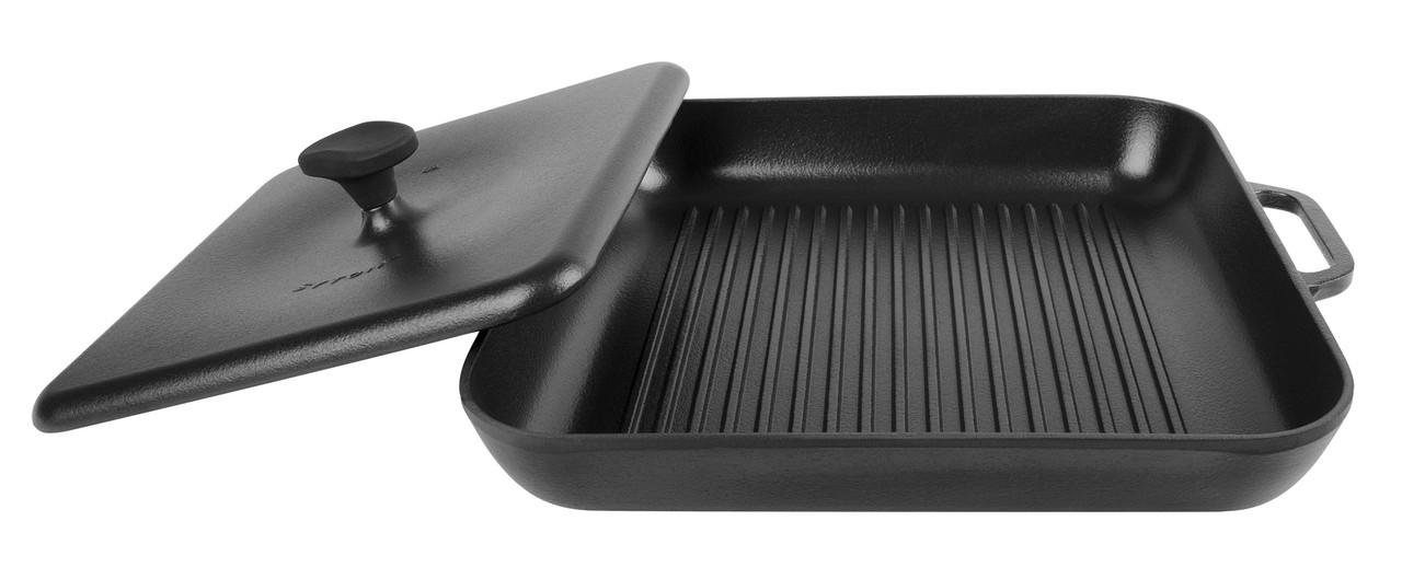 Сковорода гриль Сітон чавунна емальована квадратна з пресом (280х280х40) (Матова Емаль)