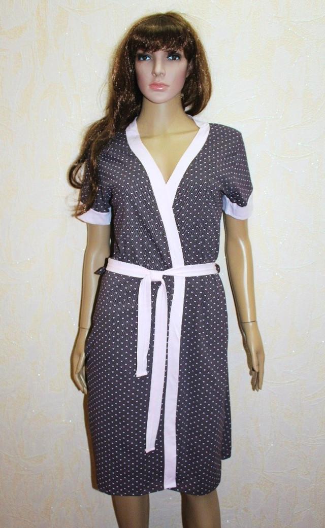 Комплект халат и сорочка для беременных и кормящих коричневый горох