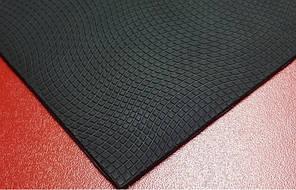 Резина набоечная полиуретановая т. 6,0 мм рис. Волна цвет черный