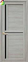 Дверь межкомнатная Новый стиль Тринити Мода экошпон Ясень патина стекло BLK