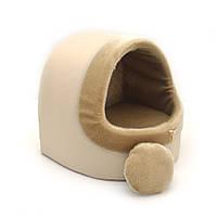 Будка для котов и собак Мех бежевая №1 360х320х320