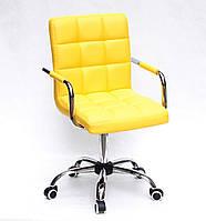 Кресло с подлокотниками Августо Augusto-ARM CH - Office желтая экокожа на колесиках, хром