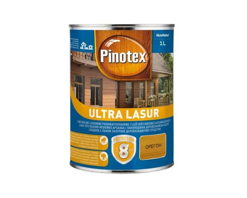 Лазурь-лак антисептический PINOTEX ULTRA LASUR для древесины полуматовый орегон 1л