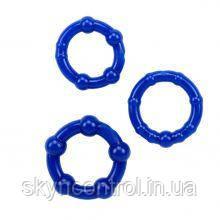 Набор эрекционных колец Beaded Cock Rings-Blue, фото 2