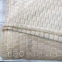 """Плед """"Брусчатка"""" из микрофибры ALBO 200х230 cm Ванильное (P-F3-6-2), фото 4"""
