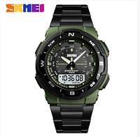 Кварцевые Mилитари часы Skmei 1370 Черный+Зеленый, фото 1