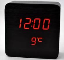 Часы настольные в виде деревянного бруска VST-872-1 Черный