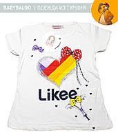 """Красивая футболка  для девочки """"Likee"""" (от 5 до 8 лет)"""