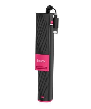 Селфи монопод Hoco K8 lightning для iPhone Чорно-Рожевий