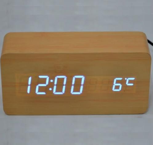 Часы настольные VST 862 Голубая подсветка Бежевый