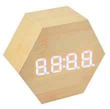 Часы настольные VST 876 Белая подсветка Бежевый