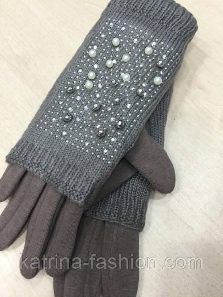 """Жіночі зимові рукавички """"Намистинки"""" (забарвлення)"""