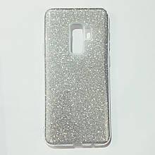 Бампер для Samsung S9 Plus с блестинками Серебристый