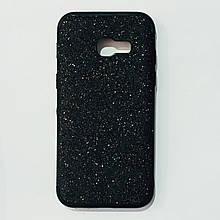 Бампер для Samsung A320 с блестинками Черный